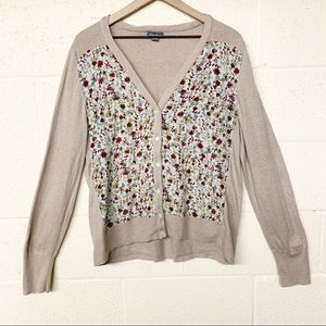 Eddie Bauer floral panel button cardigan XL